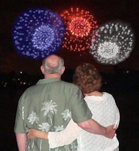 My Mom & Dad at the fireworks